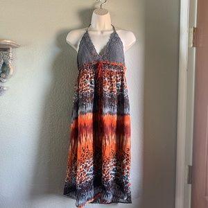 Panitti crochet Halter top animal Print Dress
